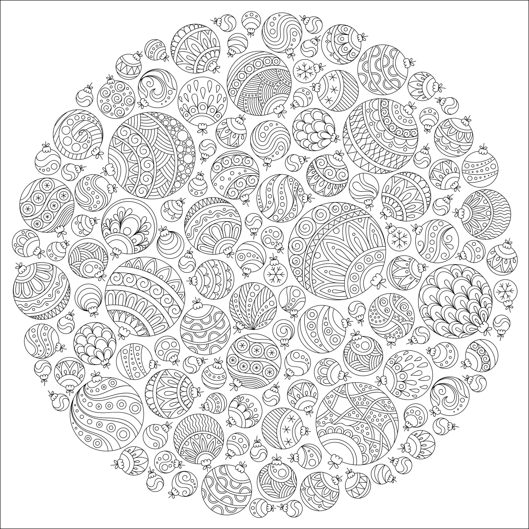 47952727 - pattern for coloring book. christmas hand-drawn decorative elements in vector. fancy christmas ball from balls . pattern for coloring book. black and white pattern.