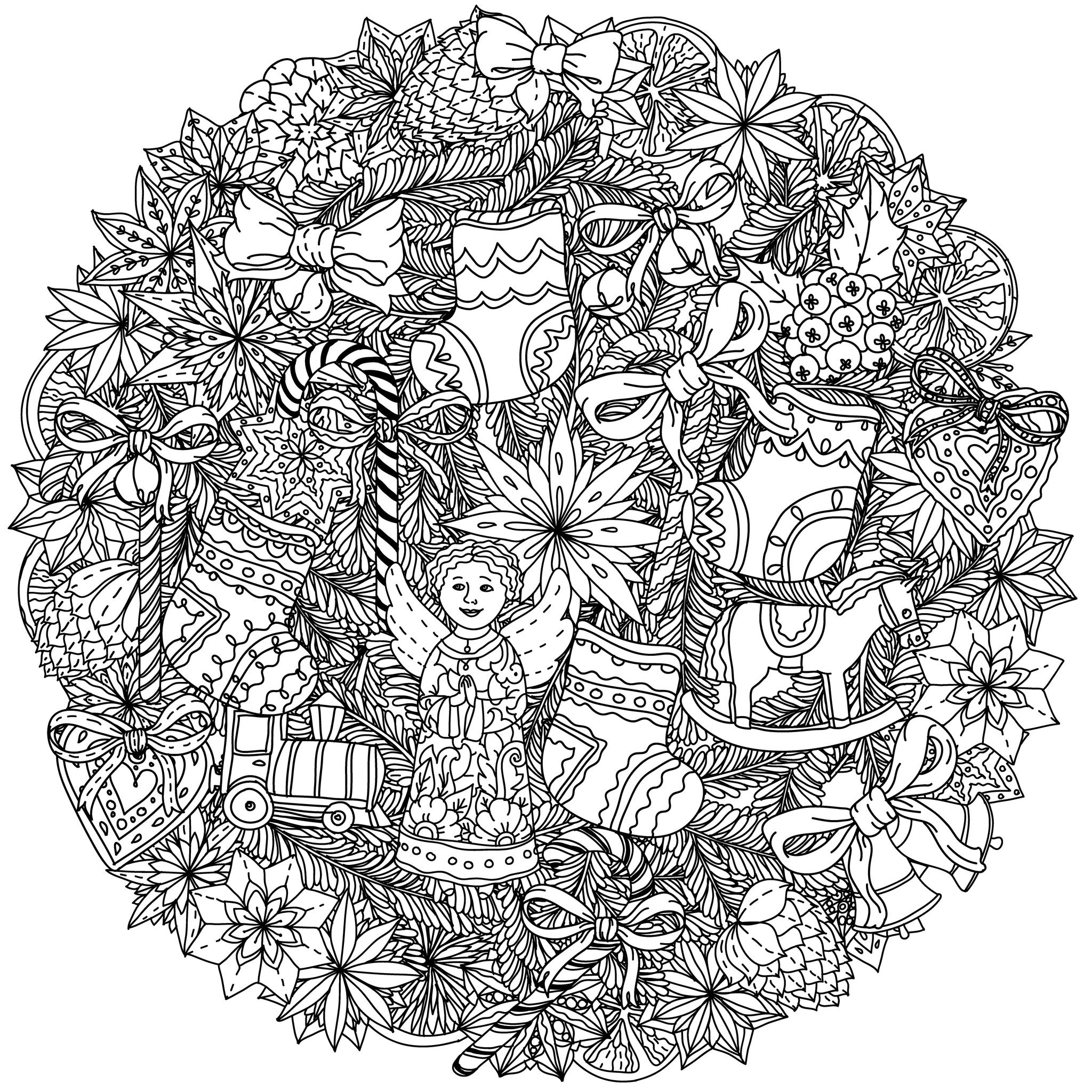 49525227 christmas wreath with decorative items black and white the best for your design - Mandalas noel ...