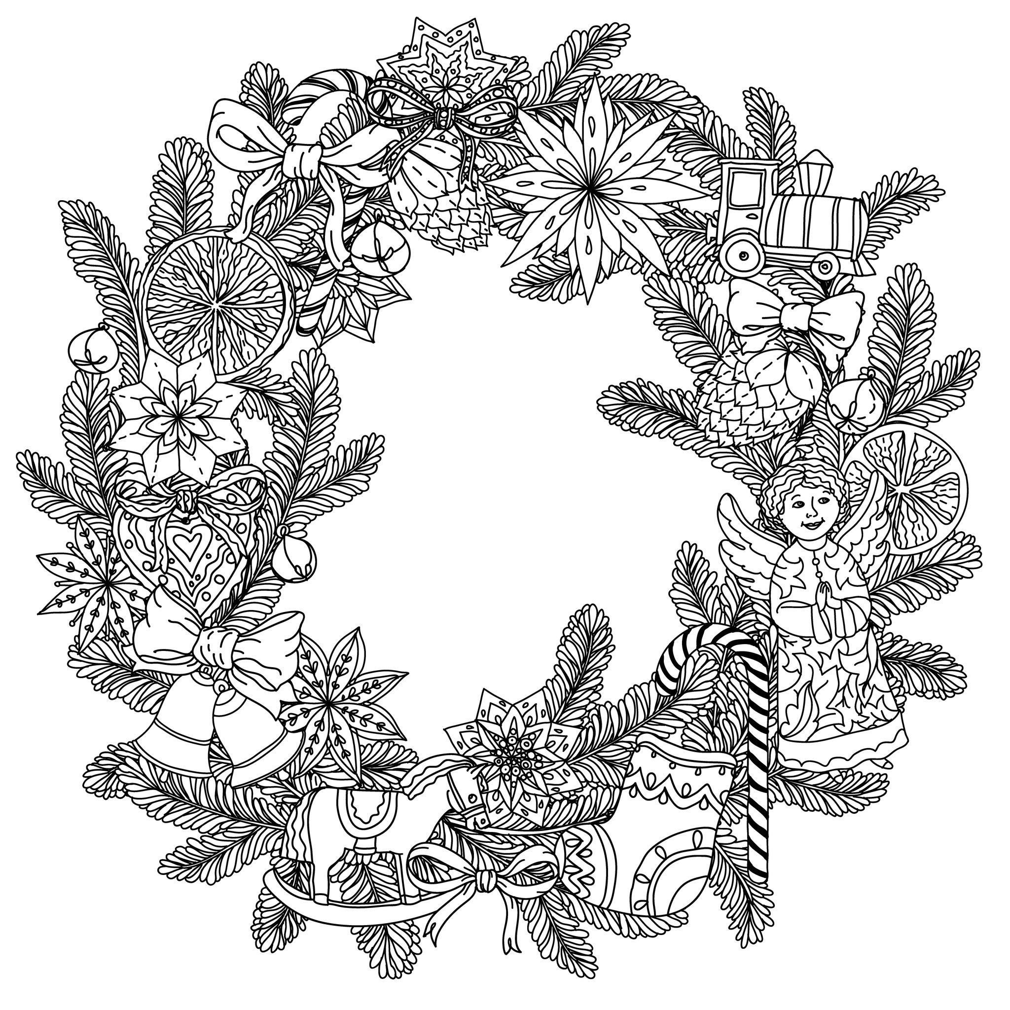 49525223 christmas wreath with decorative items black and white the best for your design - Coloriage mandala de noel ...