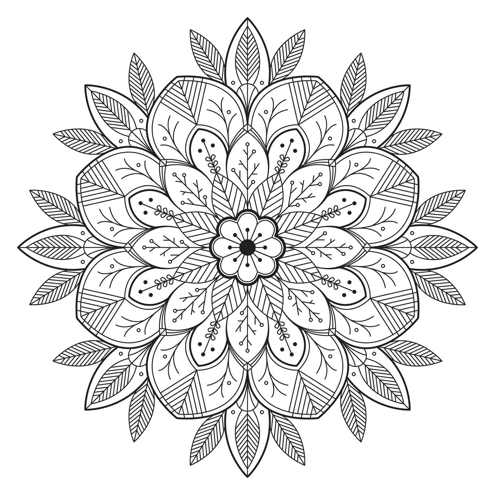 Mandala avec feuilles et fleurs coloriage mandalas coloriages pour enfants - Coloriage magnifique ...