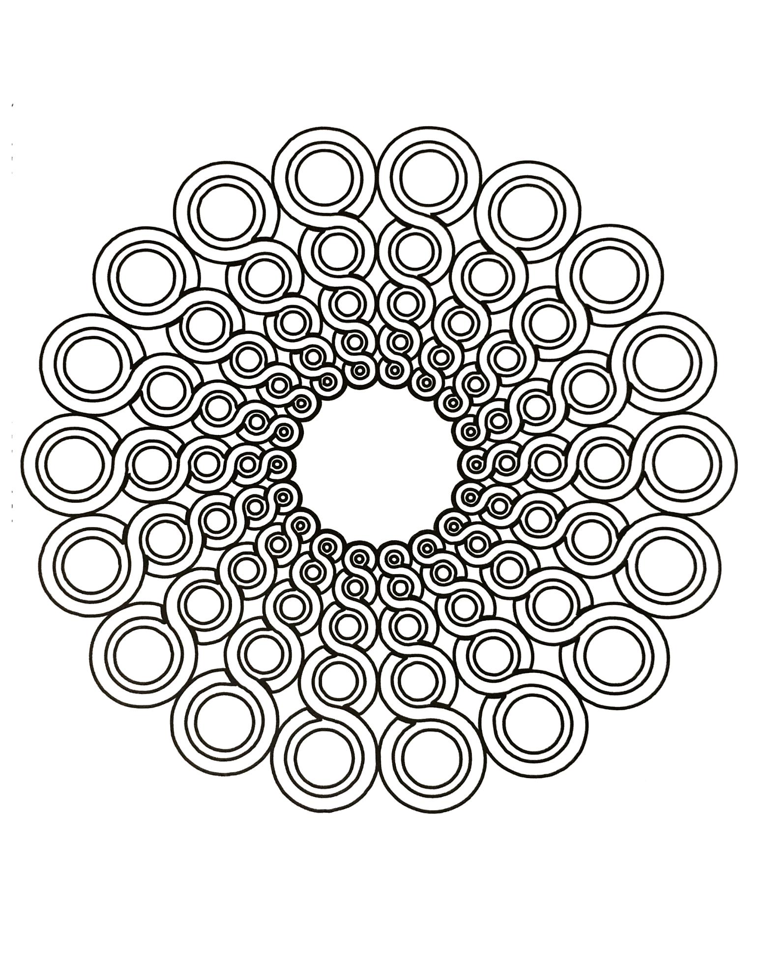 Facile mandala circulaire coloriage mandalas - Coloriages mandalas ...