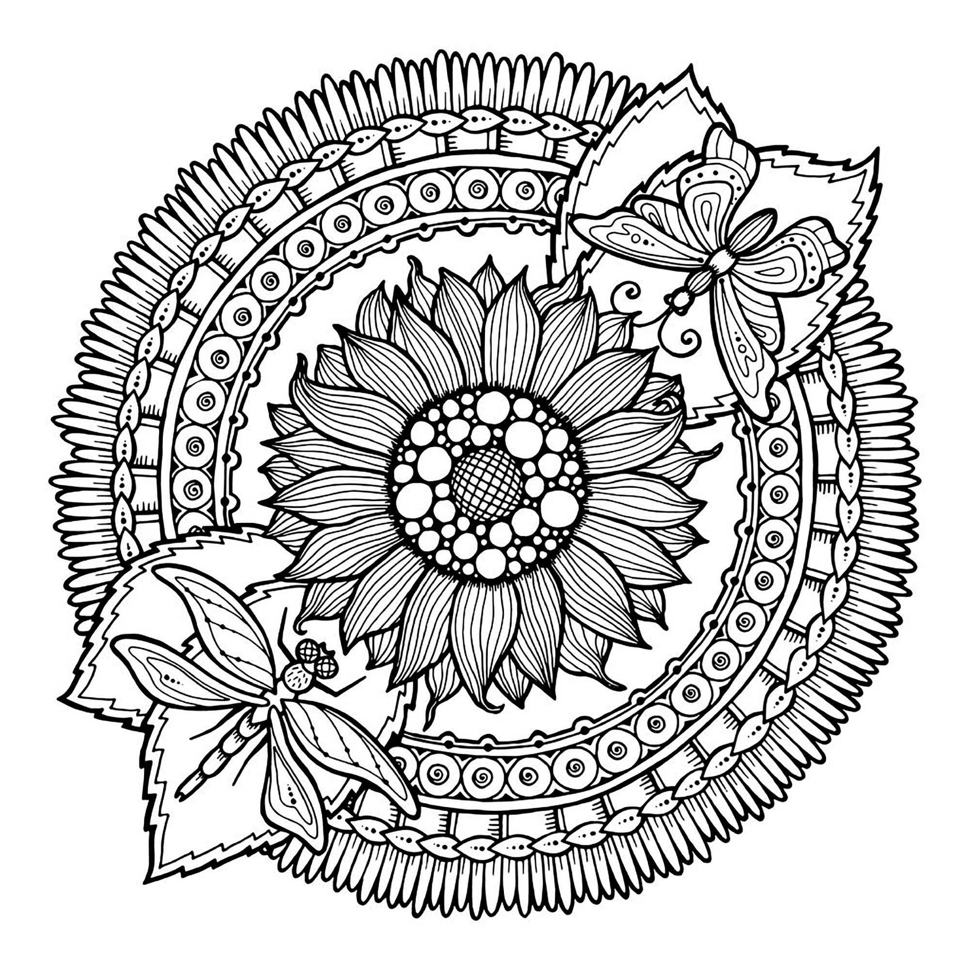 Facile mandala fleurs et papillon coloriage mandalas coloriages pour enfants - Coloriages mandalas fleurs ...