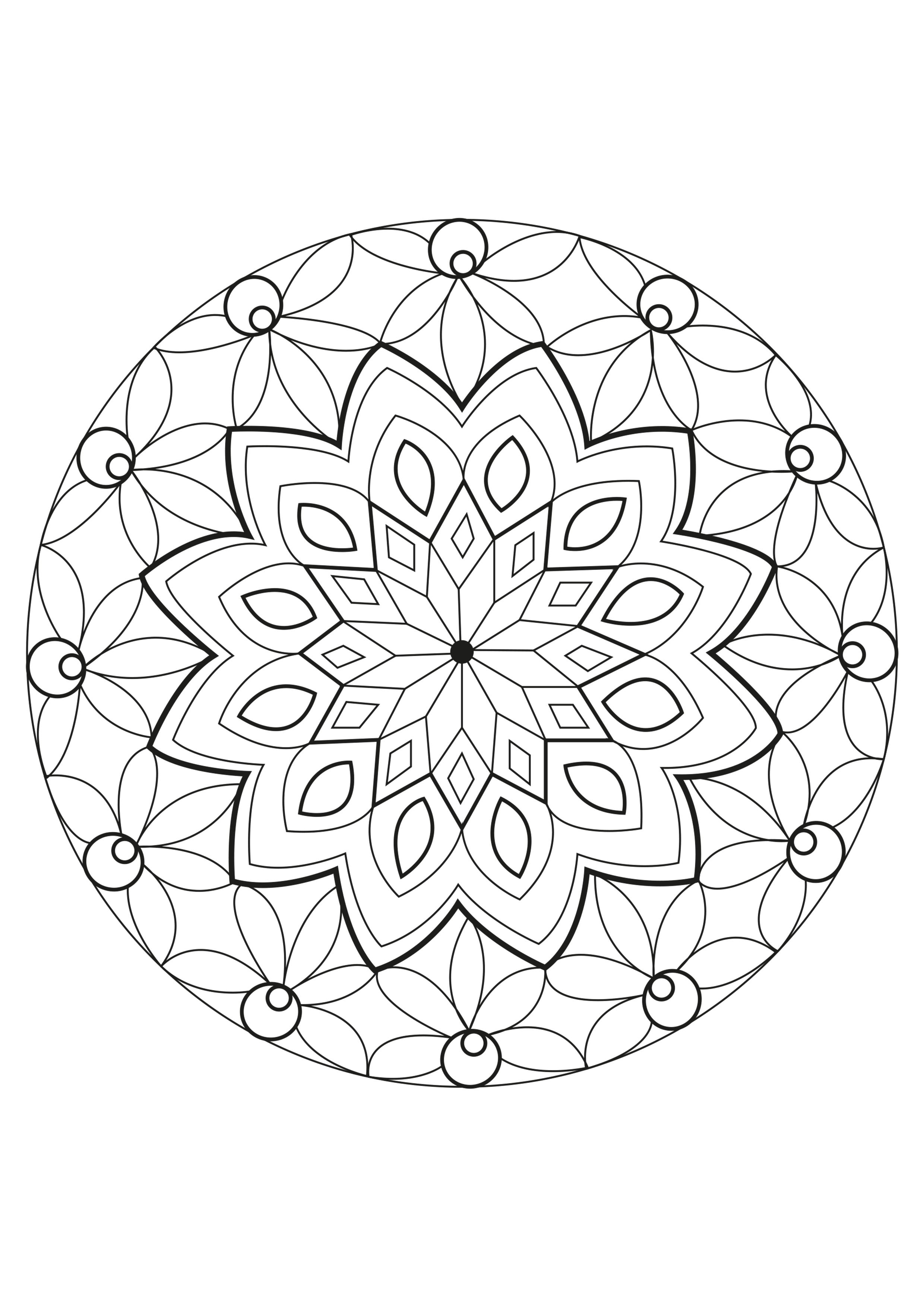 facile mandala magique coloriage mandalas coloriages pour enfants. Black Bedroom Furniture Sets. Home Design Ideas