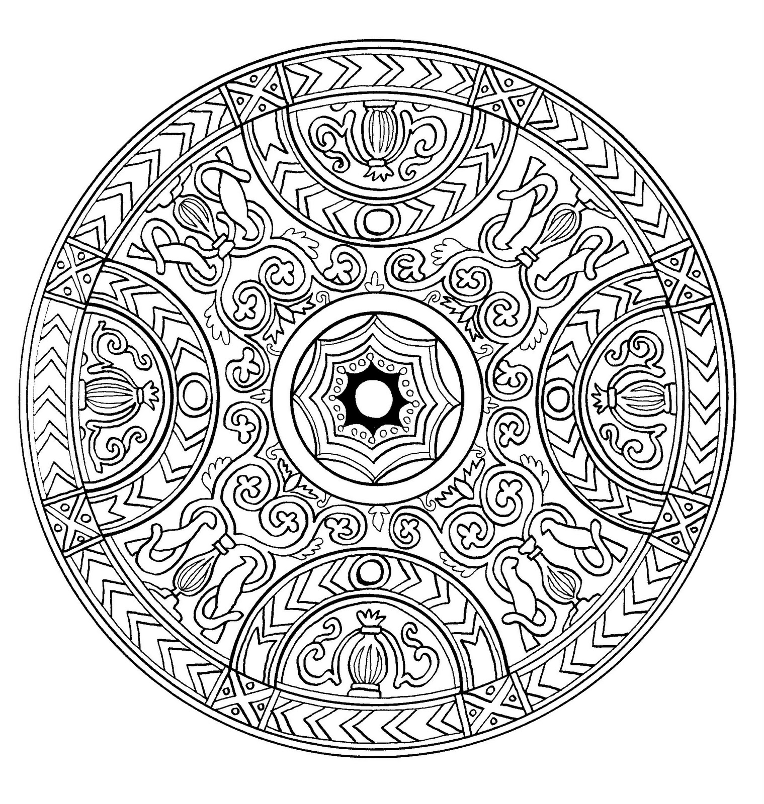 mandala a imprimer 1 coloriage mandalas coloriages pour enfants. Black Bedroom Furniture Sets. Home Design Ideas