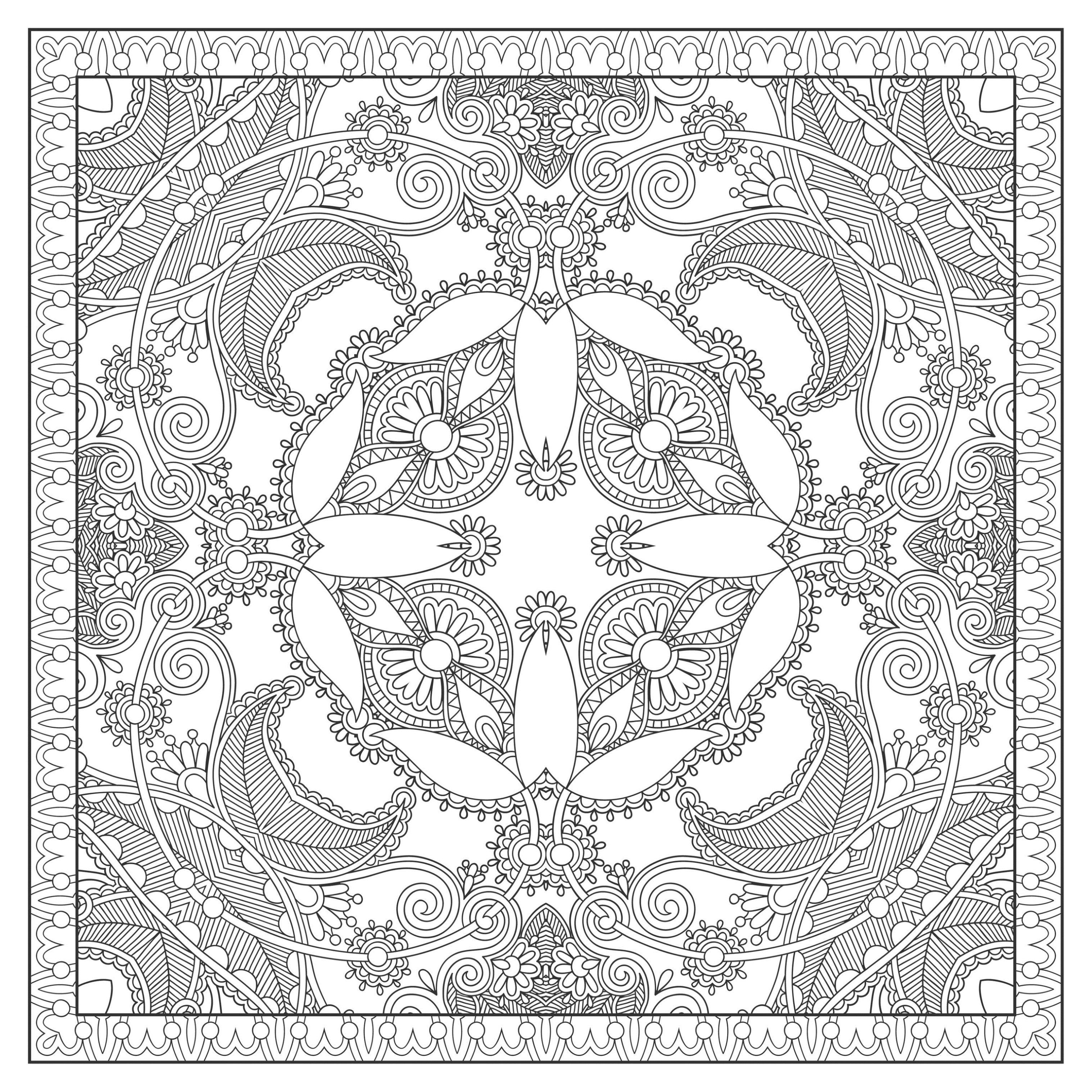 Mandala carre coloriage mandalas coloriages pour - Mandala anniversaire ...