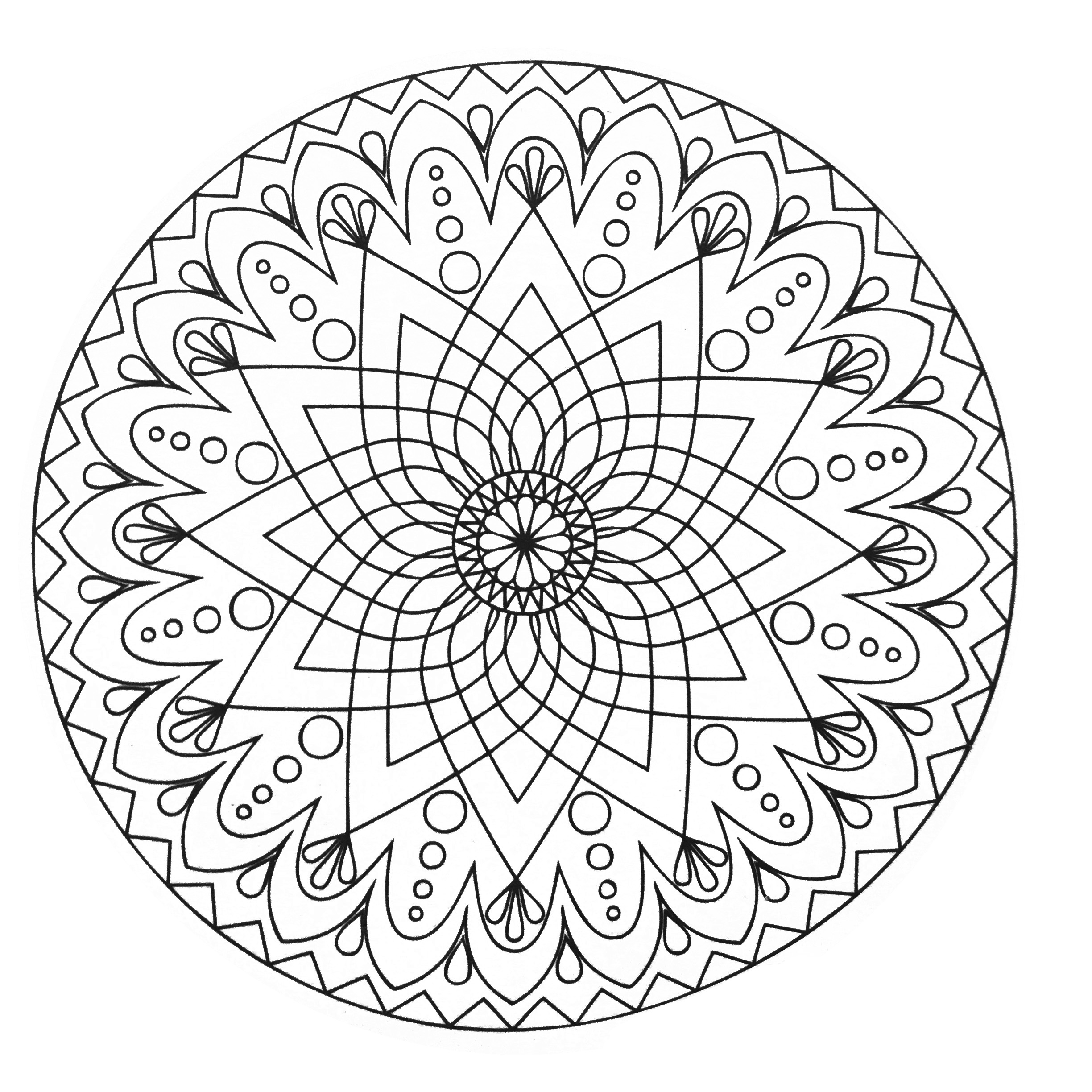 Mandala difficile abstrait simple