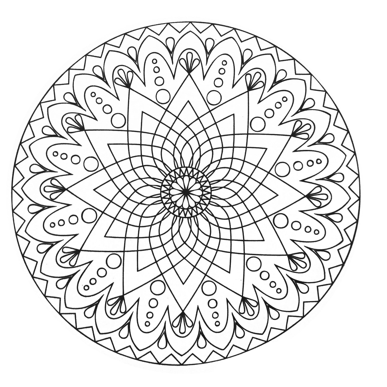 Mandala abstrait simple coloriage mandalas coloriages - Coloriage mandala enfants ...