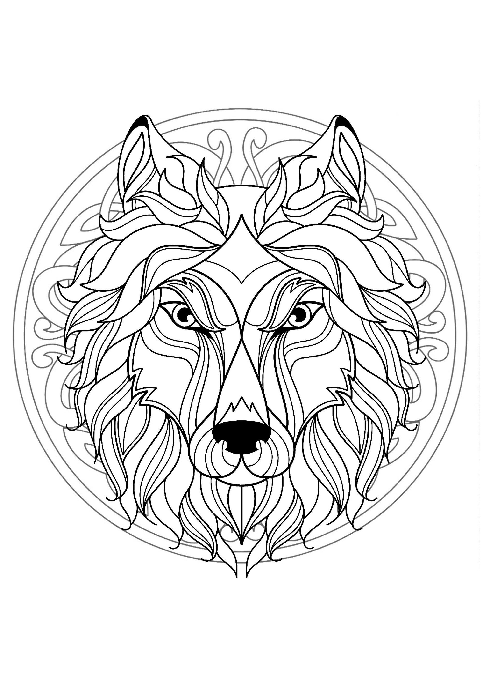 Mandala gratuit tete loup coloriage mandalas - Coloriage mandala enfants ...