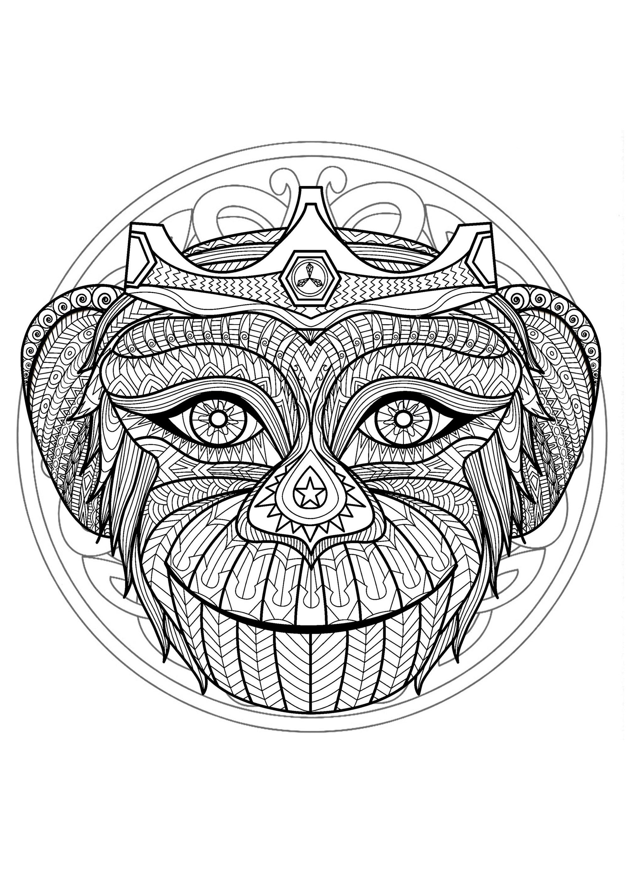 Mandala gratuit tete singe coloriage mandalas coloriages pour enfants - Dessine gratuit ...