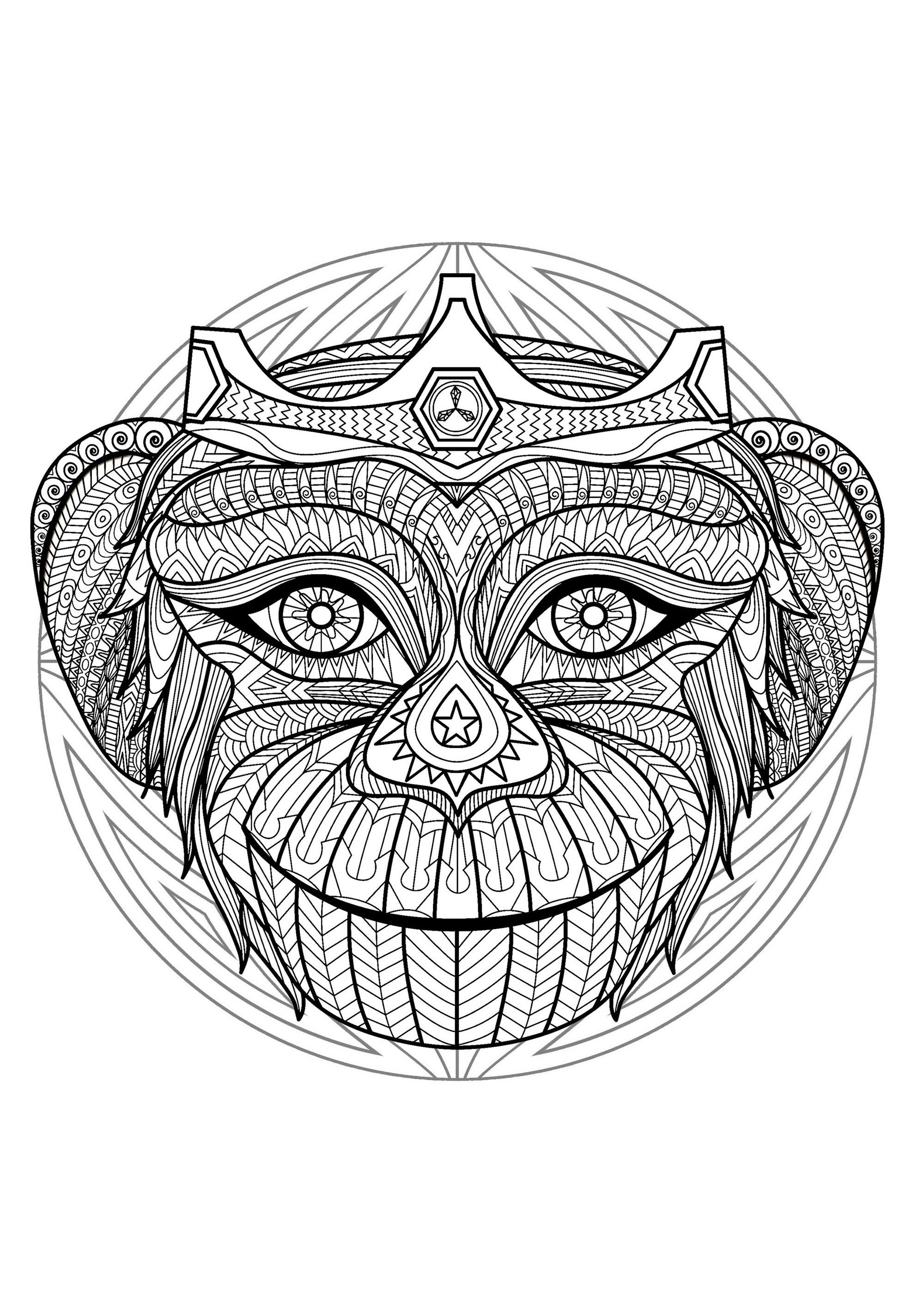 Mandala gratuit tete singe 2 - Coloriage Mandalas - Coloriages pour enfants