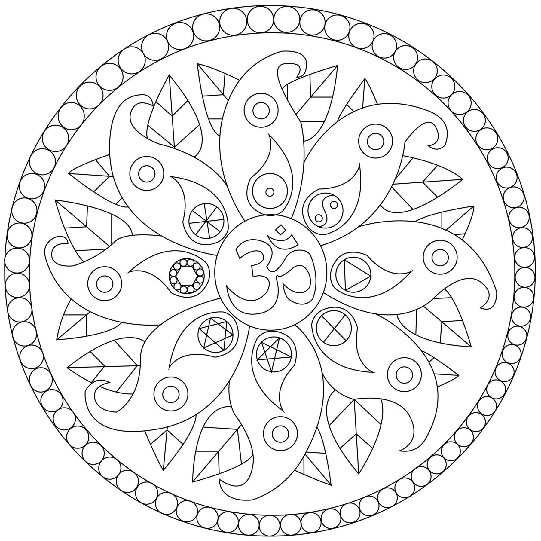 Un Mandala comportant des motifs végétaux et divers symboles comme le Yin & Yang