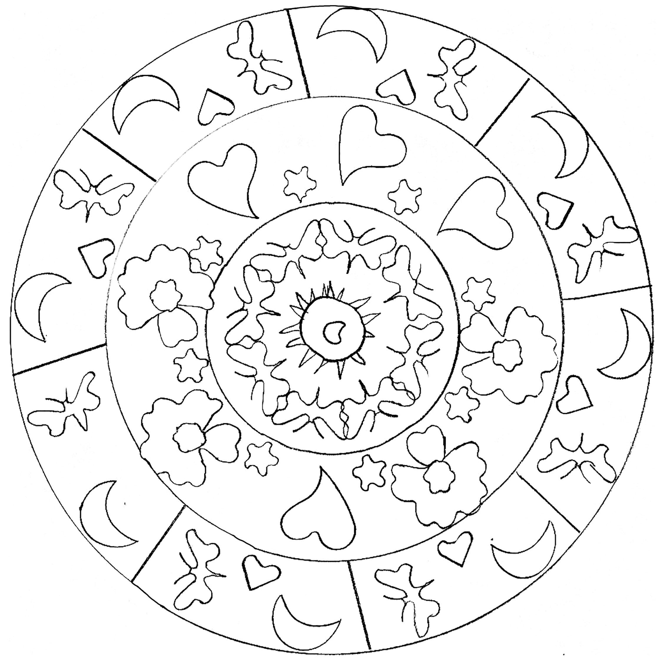 Mandala coeurs et lune par domandala 13 | Coloriage Mandalas ...