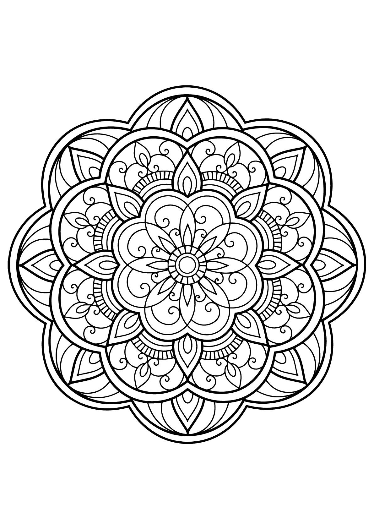 Mandala complexe livre gratuit 14 - Coloriage Mandalas - Coloriages pour enfants
