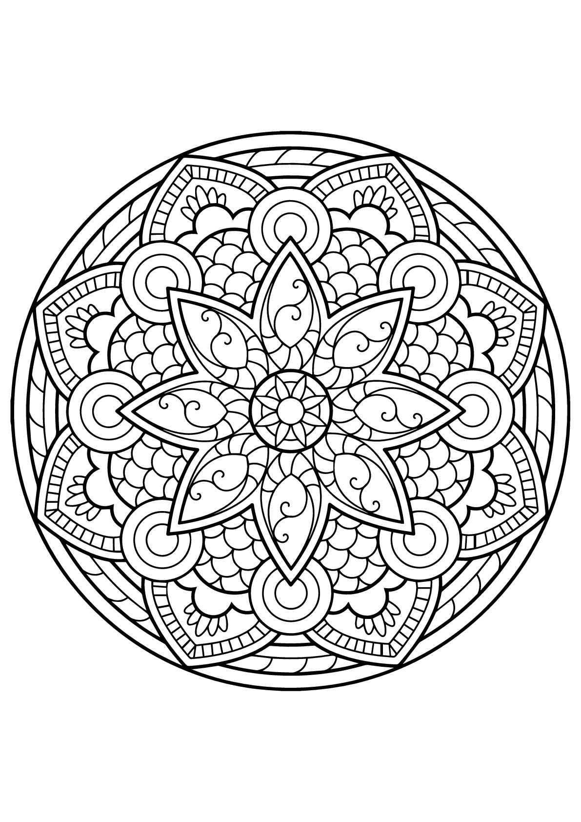 Mandala complexe livre gratuit 4 - Coloriage Mandalas - Coloriages pour enfants