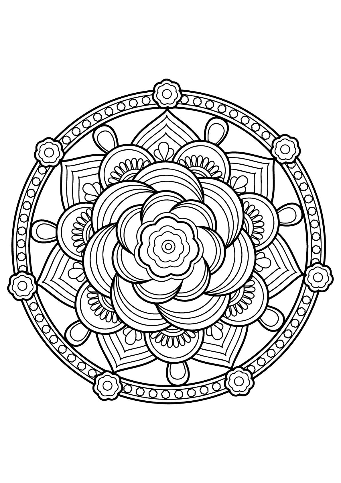 Mandala complexe tiré d'un livre de coloriages gratuit