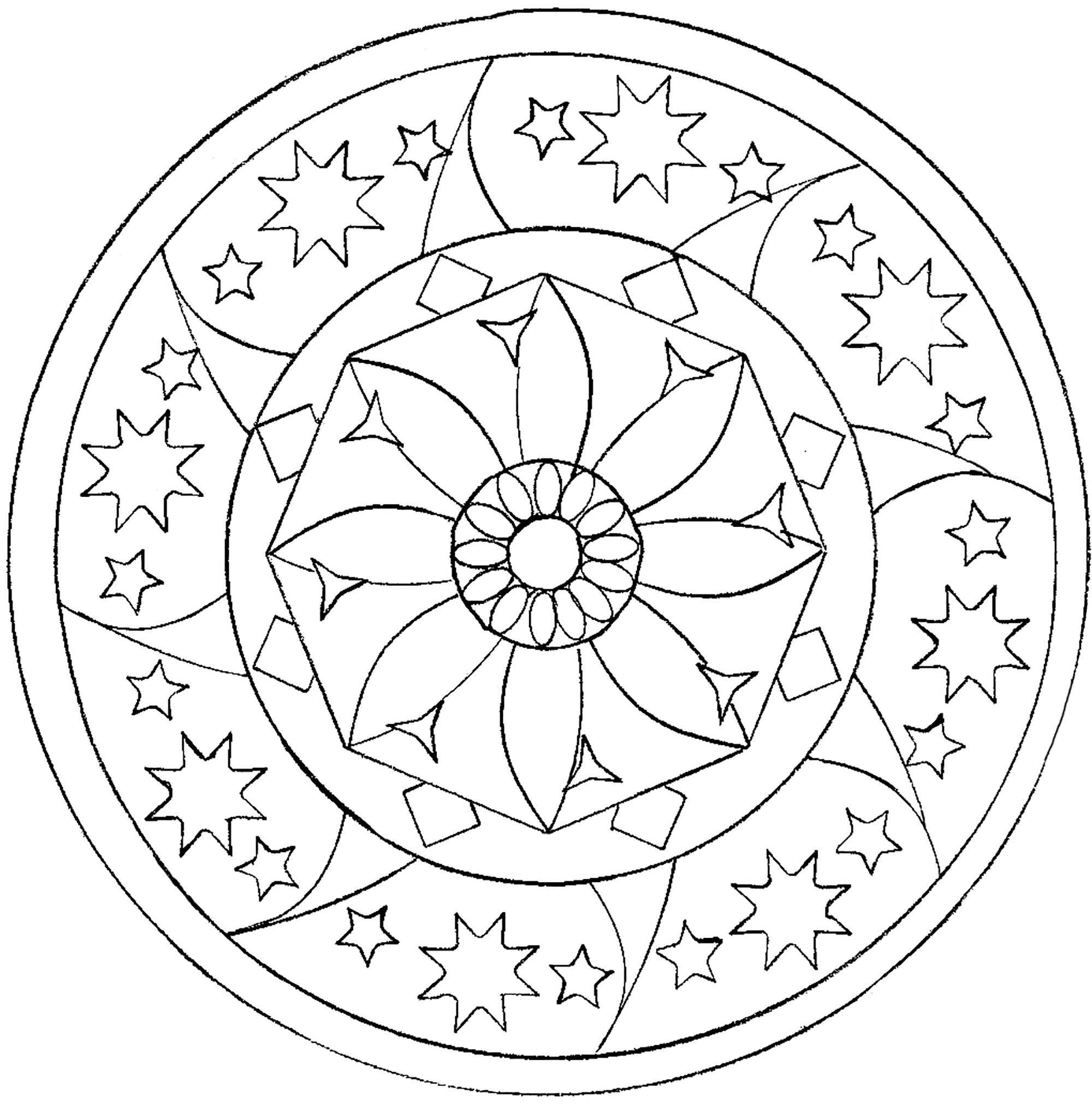mandala etoiles coloriage mandalas coloriages pour enfants. Black Bedroom Furniture Sets. Home Design Ideas