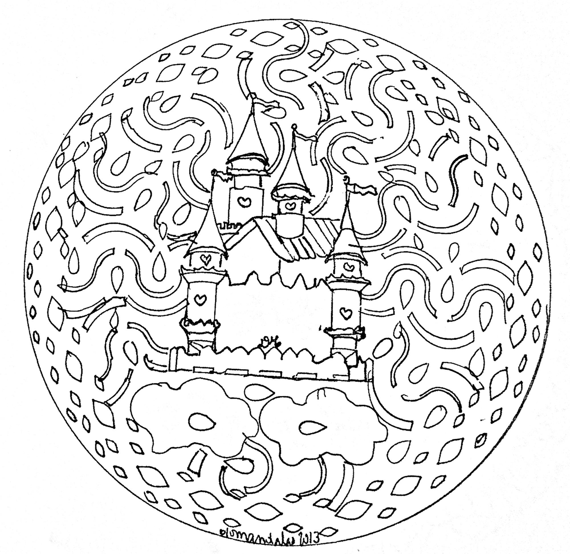 mandala facile chateau coloriage mandalas coloriages pour enfants. Black Bedroom Furniture Sets. Home Design Ideas