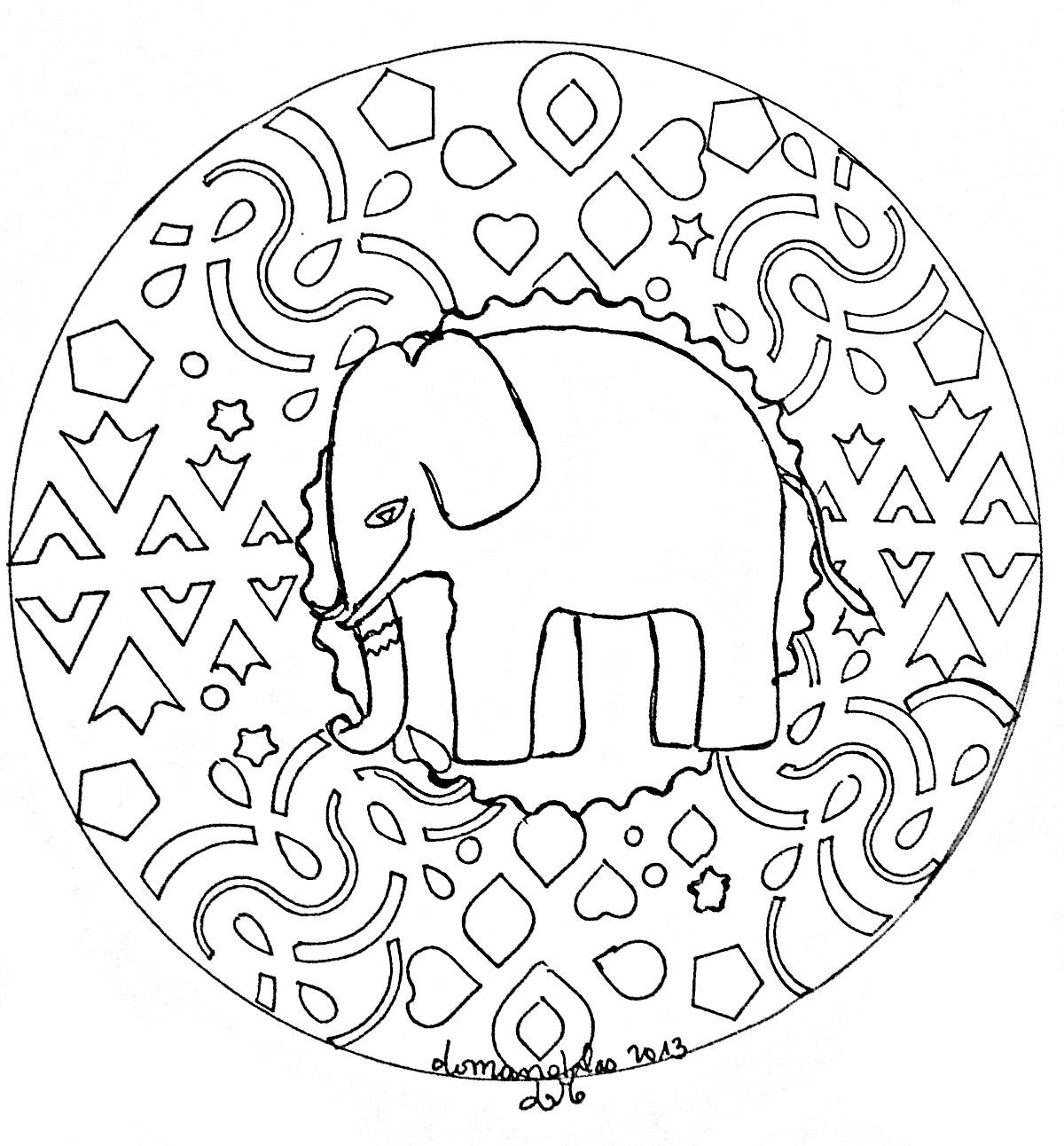 Mandala Facile Elephant Coloriage Mandalas Coloriages Pour Enfants