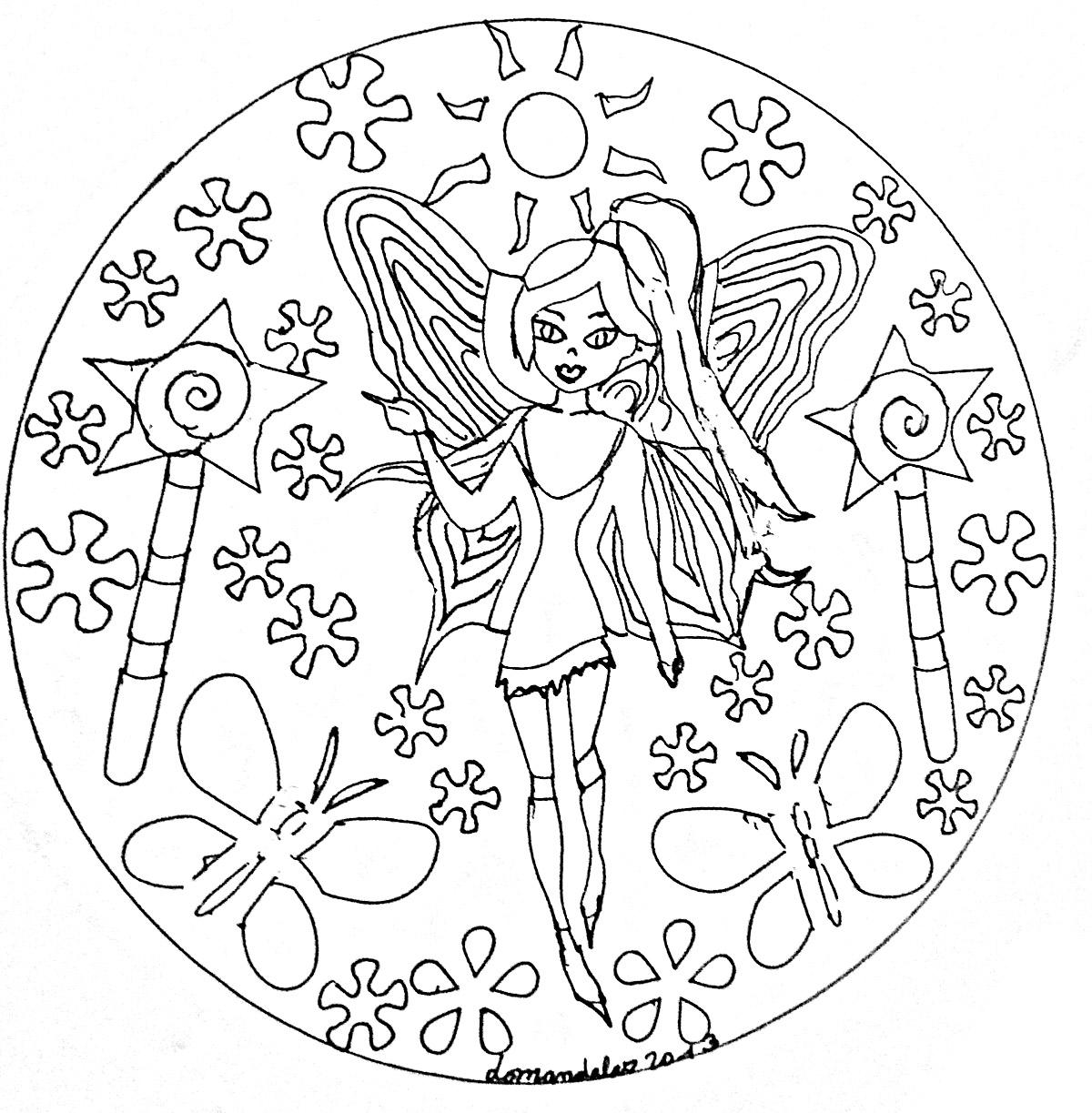 Mandala facile fee coloriage mandalas coloriages pour - Coloriage de fee a imprimer ...