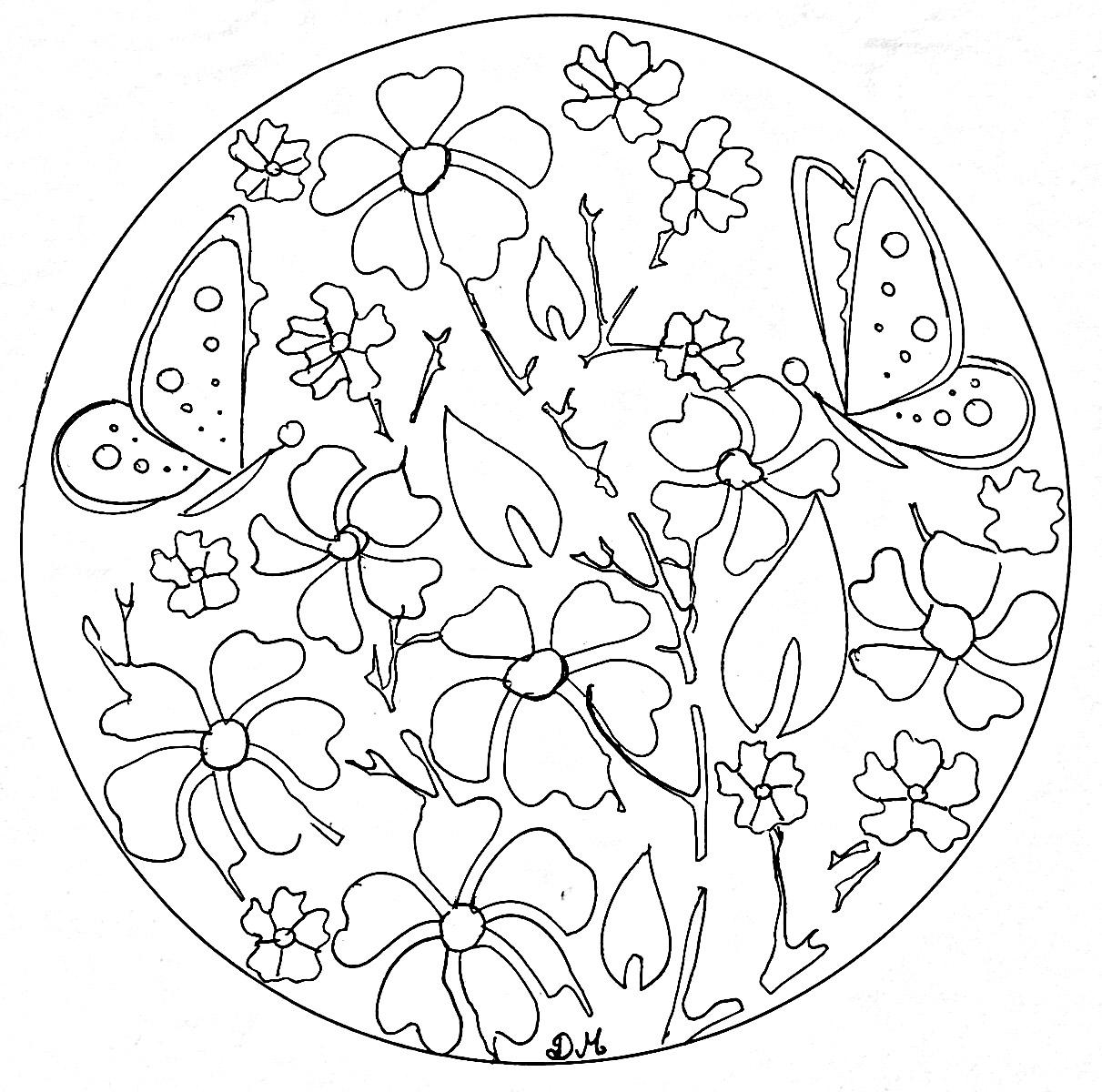 Mandala facile fleurs papillons coloriage mandalas - Fleur a imprimer gratuit ...