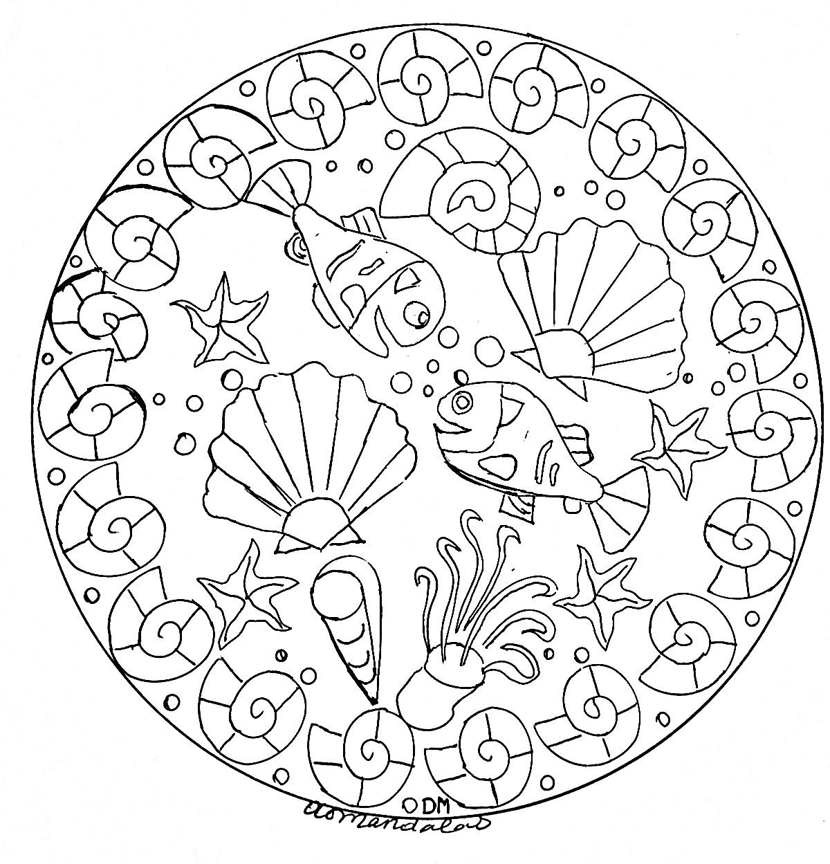 Mandala facile fonds marins 2 - Coloriage Mandalas ...