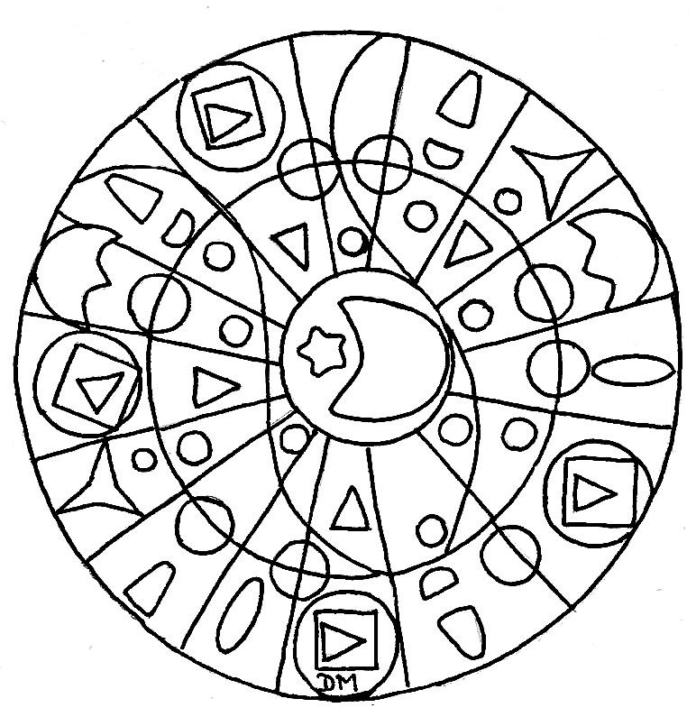 Mandala Facile Lune Etoile Coloriage Mandalas Coloriages Pour
