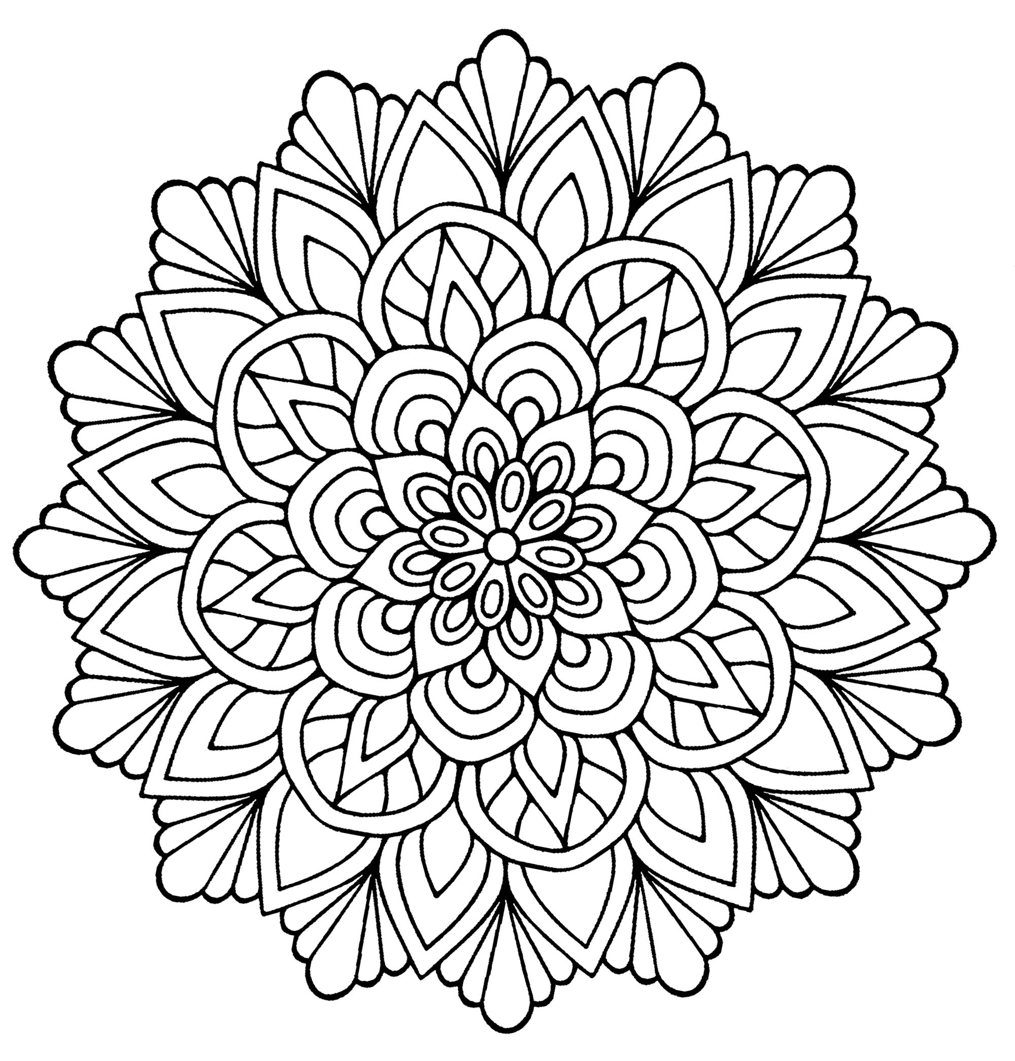 mandala fleur avec feuilles coloriage mandalas coloriages pour enfants. Black Bedroom Furniture Sets. Home Design Ideas