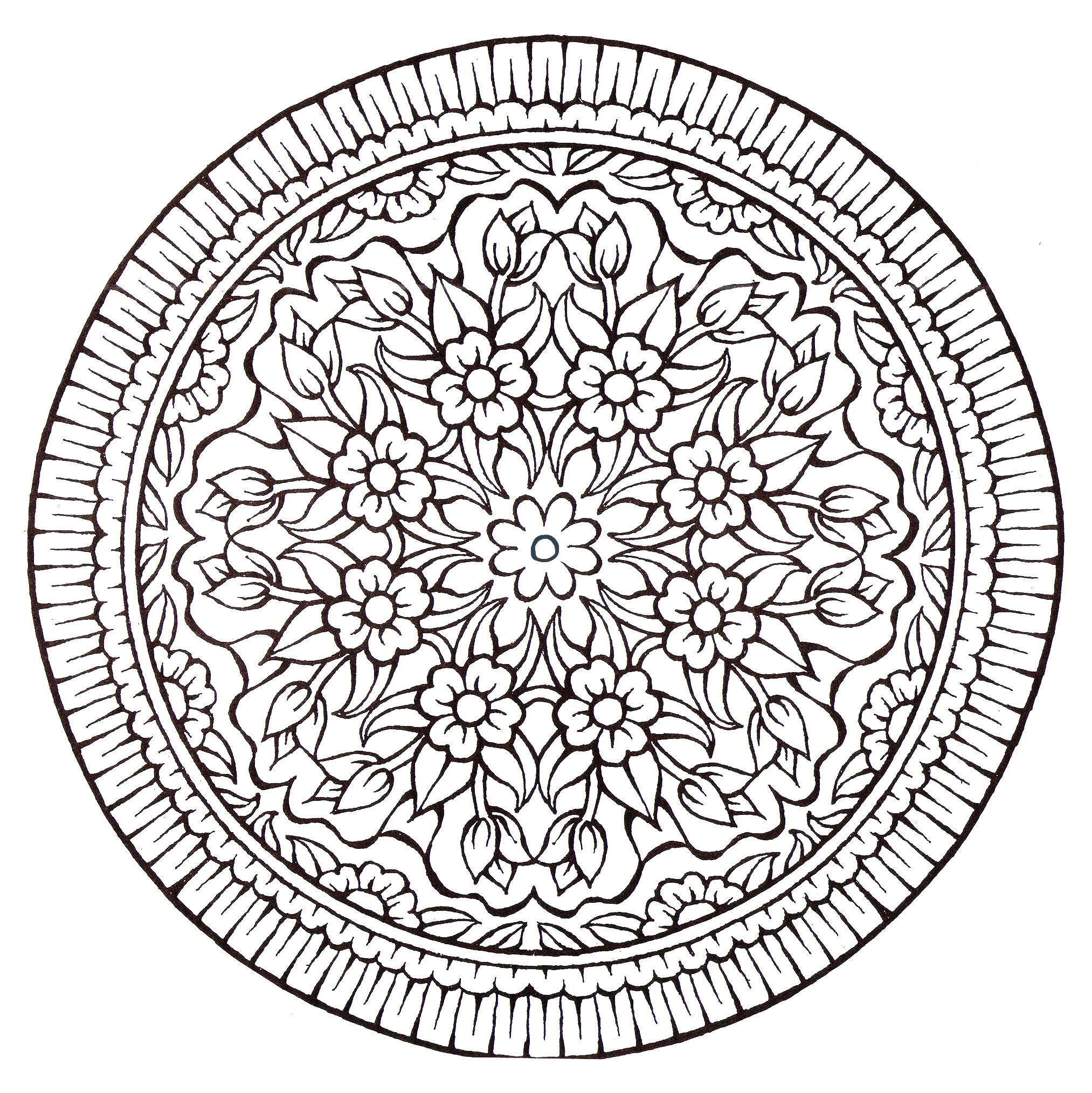 Mandala fleurs vintage coloriage mandalas coloriages - Mandala fleur ...