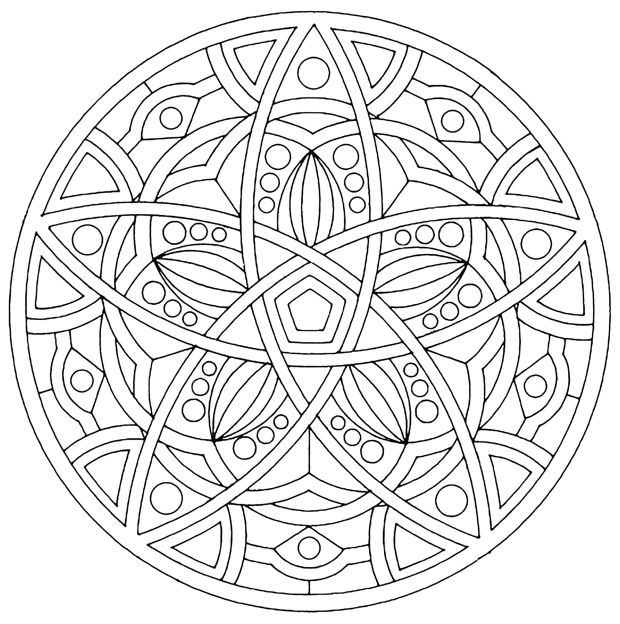 Jolie harmonie, pour un coloriage de Mandala assez simple