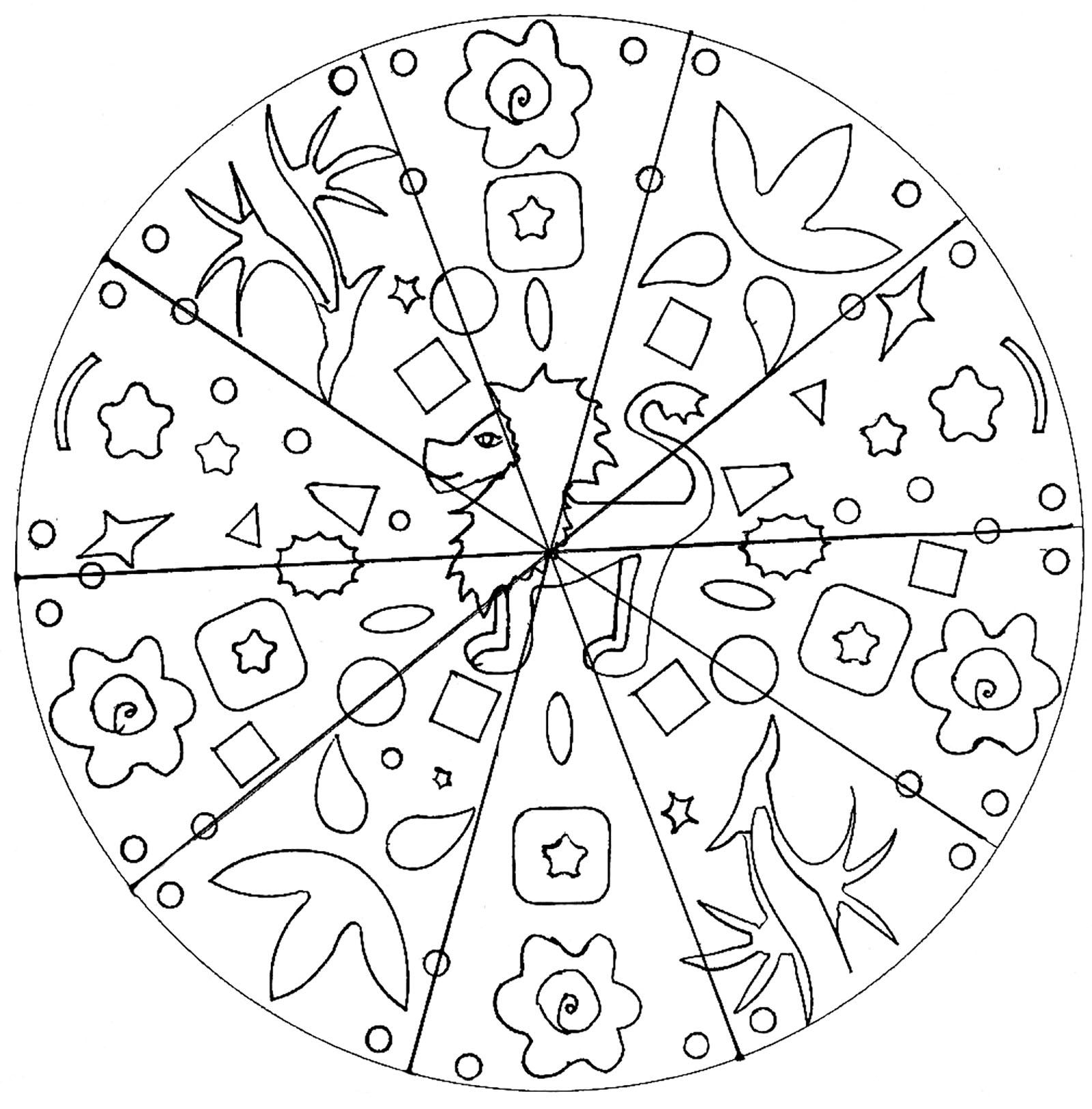 Mandala lion coloriage mandalas coloriages pour enfants - Lion dessin facile ...