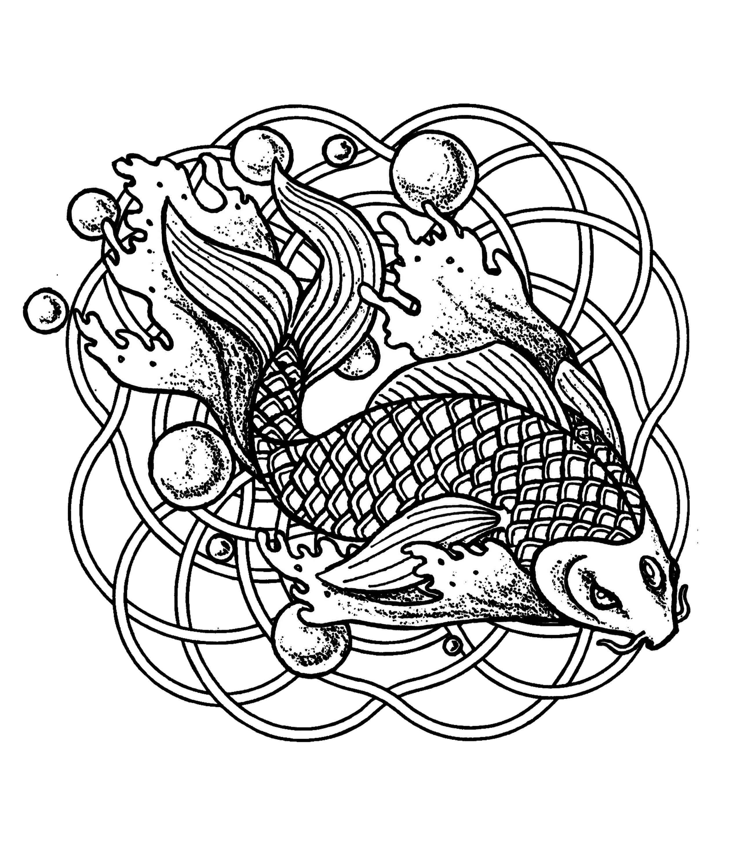Mandala 'Poisson et bulles'