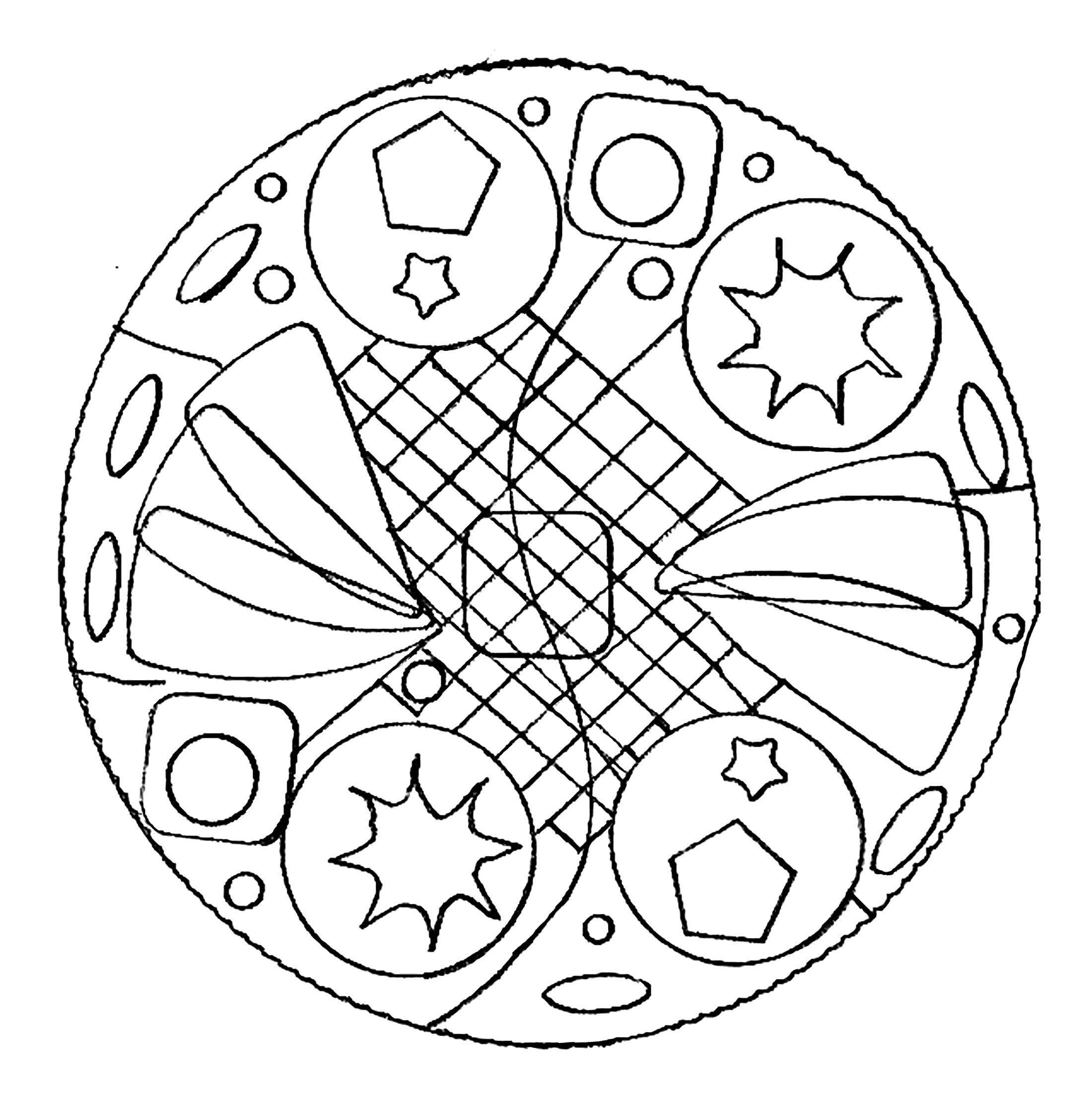 Mandala simple - Coloriage Mandalas - Coloriages pour ...