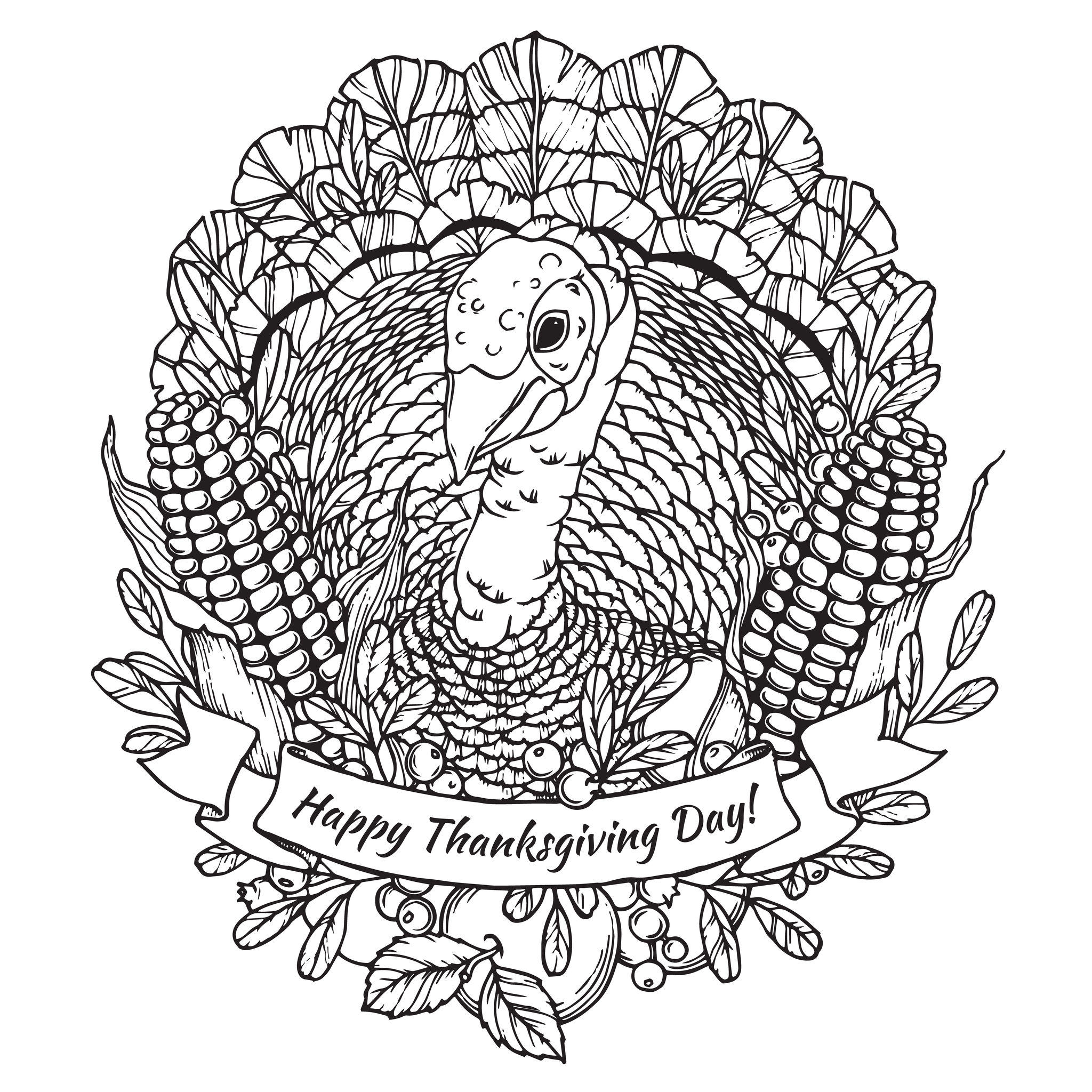 59191579 - thanksgiving day greeting card with turkey, vegetables and fruits in cartoon style. black and white