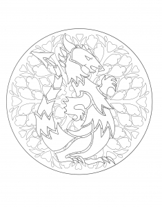 Coloriage a imprimer mandala dragon 1