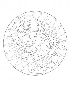 Coloriage a imprimer mandala dragon 3