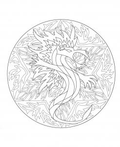 Coloriage a imprimer mandala dragon 5