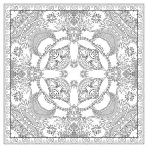 Coloriage mandala carre par karakotsya 1