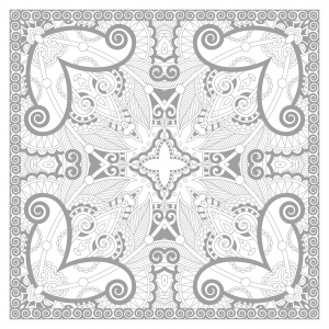 Coloriage mandala carre par karakotsya 2