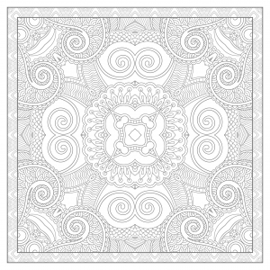 Coloriage mandala carre par karakotsya 4
