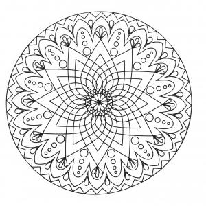 Coloriage mandala difficile abstrait simple