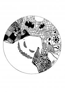 Coloriage mandala difficile fantome par allan