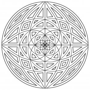 Coloriage mandala difficile lignes concentriques