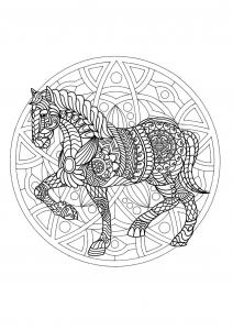 Coloriage mandala gratuit cheval