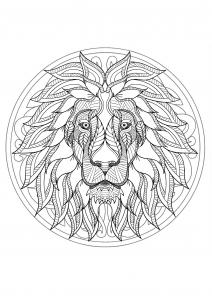 Coloriage mandala gratuit tete lion