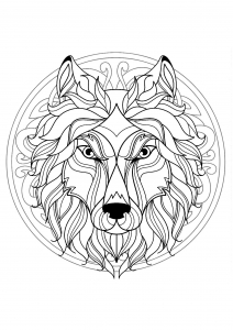 Coloriage mandala gratuit tete loup