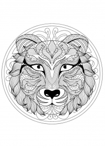 Coloriage mandala gratuit tete tigre