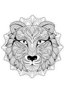 Coloriage mandala gratuit tete tigre 2