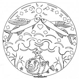 Mandala enfant poisson en mer 2