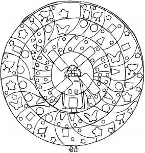 Mandala facile moulin