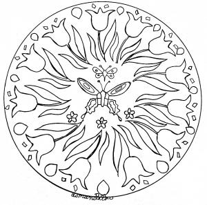 Mandala facile papillon et fleurs